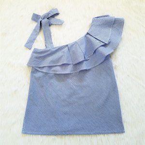 CREMIEUX One-Shoulder Ruffle Top with Shoulder Tie